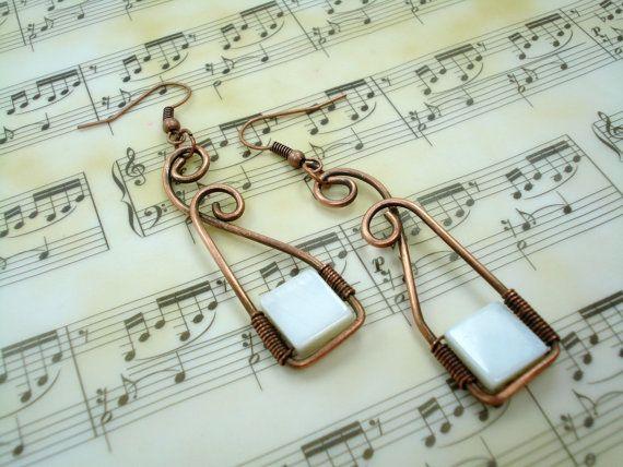 Copper wire earrings earrings in handmade by MargoHandmadeJewelry