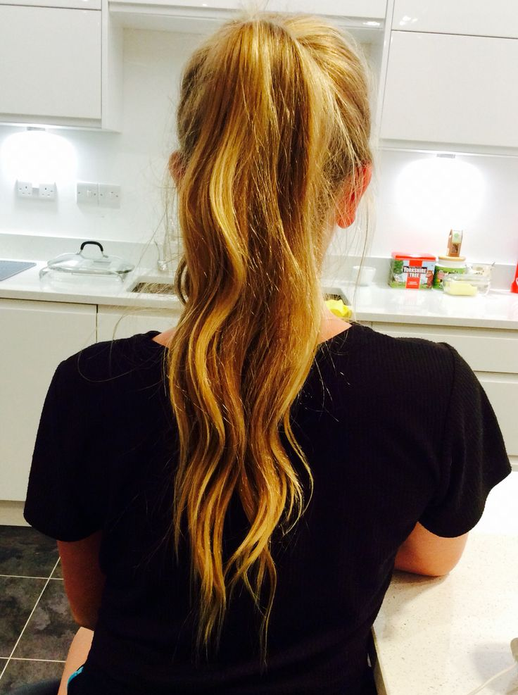 Long wavy messy high ponytail