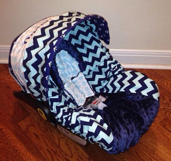 Quentin Boutique Nautical Boys Infant Car Seat Cover Includes Chest Straps And Headrest On Etsy