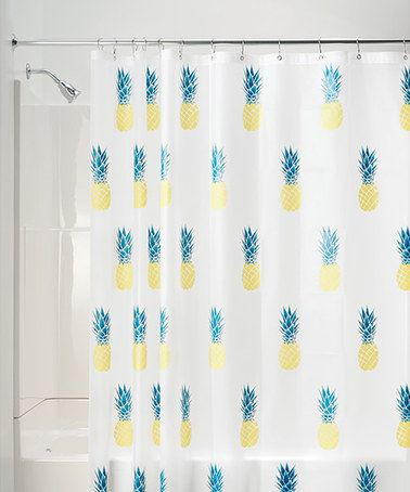 This Yellow & Teal Pineapple Shower Curtain is perfect! #zulilyfinds