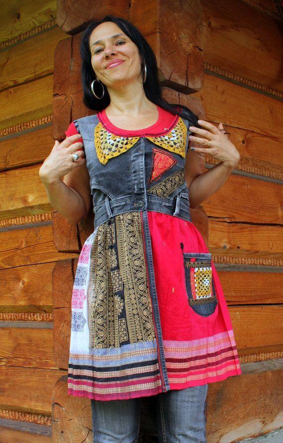 Переработанные джинсы платье-туника хиппи BOHO этническом стиле по jamfashion, $ 72.00