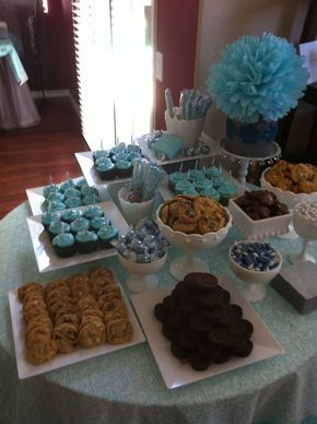 Baby shower table idea with all mommy to be favorite treats.: