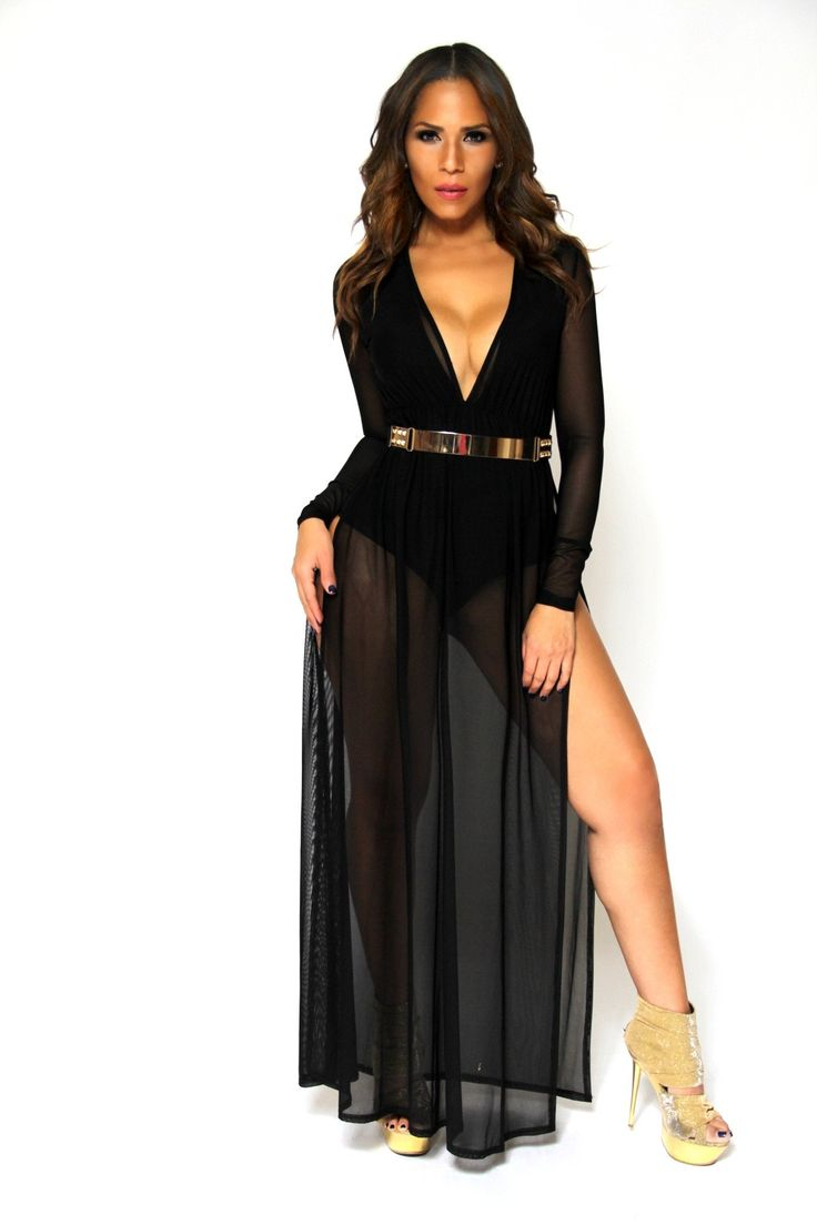 Black Long Sleeves V-Neck Bodysuit W/ Sheer Skirt