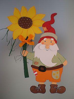Fensterbild Zwerg mit Sonnenblume   --Herbst- Dekoration - Tonkarton!