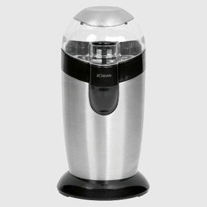 Molinillo de café Bomann KSW445 - Clatronic KSW3307 - 120w - Molinillos de café eléctrico Bomann con mecanismo batidor de percusión y potente motor de 120w. Carcasa de acero pulido. Recipiente para los granos de café de acero inoxidable para mejor conservación del aroma y mas higiene. Tapadera transparente. Capacidad para 40 g de café / 20 tazas de café. Pulsador de seguridad también para funcionamiento por impulsos. Interruptor de seguridad y encendido, solo funciona con la tapadera…