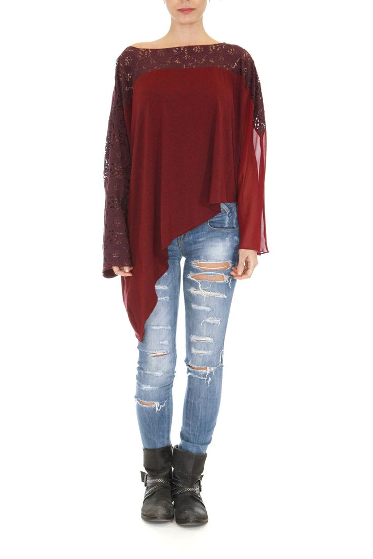 Asymmetrical multipanel top Long at the one side Amazing fabric texture Loose fit One size Available colors: Bordeaux, Black, Blue and Elephant by la vaca loca #tops #greek4chic