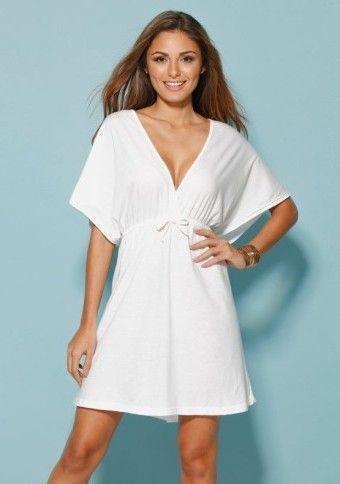 Plážové šaty s hlbokým výstrihom #Modinosk