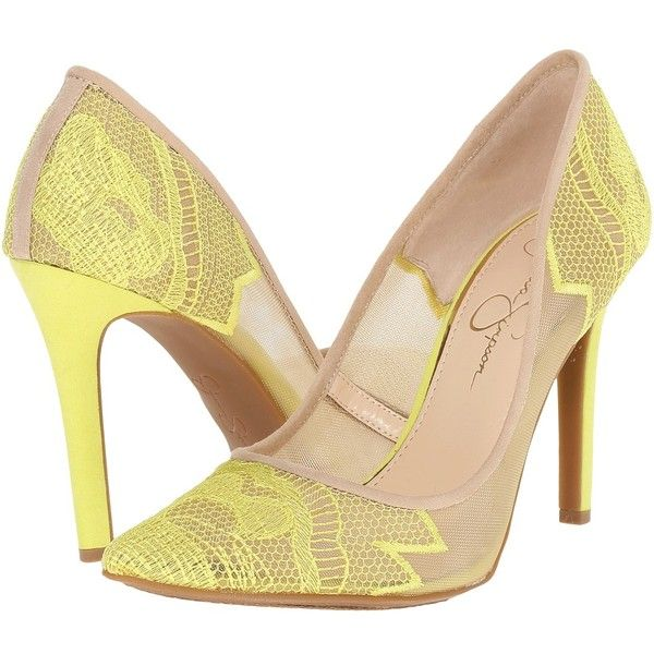 Jessica Simpson Camba (Sheer Electric Yellow Cream) High Heels ($89) ❤ liked on Polyvore featuring shoes, pumps, cream pumps, yellow high heel pumps, jessica simpson shoes, yellow platform pumps and platform shoes