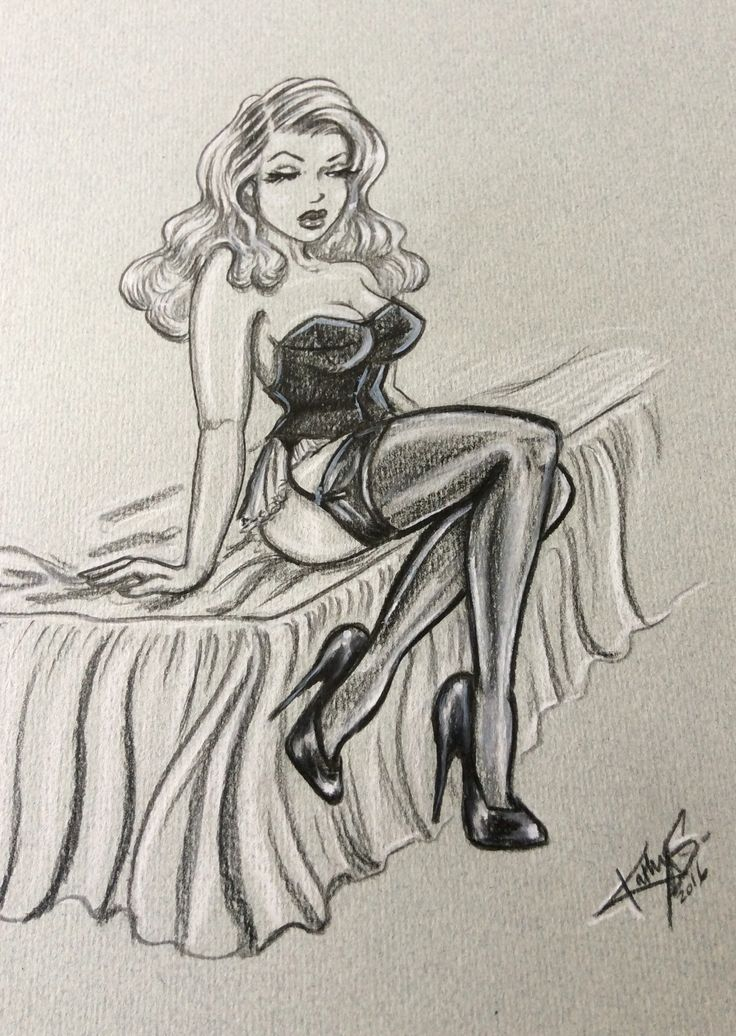 Vintage pin up - black and white pastel pencil on coloured paper. Copyright Kathy Siney