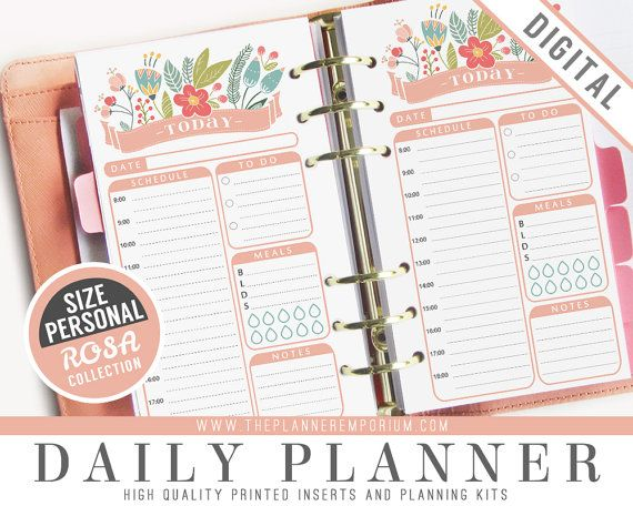 Personal Daily Planner Inserts - ROSA Collection - Fits Kikki K Medium, Filofax Personal Printable - Schedule, Meals - Pink Floral Design