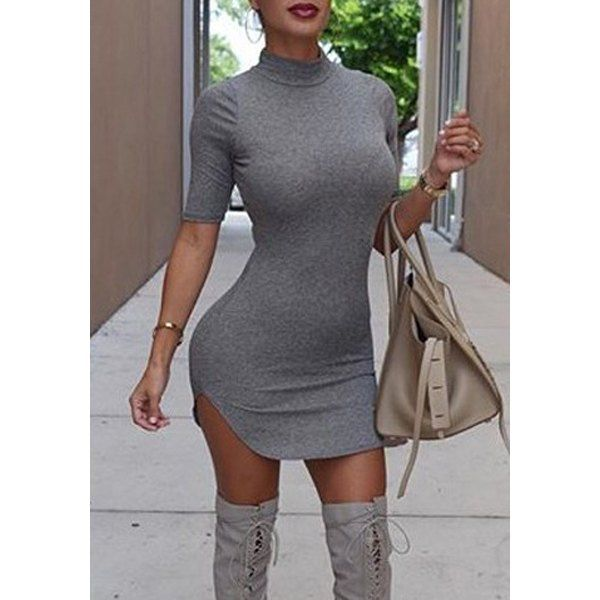 Wholesale Stylish Short Sleeve Turtleneck Solid Color Women's Bodycon Dress Only $4.17 Drop Shipping | TrendsGal.com