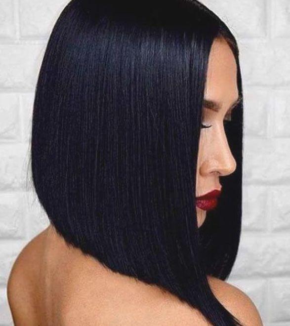 Jet Black Bob Hair In 2020 Bob Haircut Black Hair Hair Color For Black Hair Black Hair Long Bob
