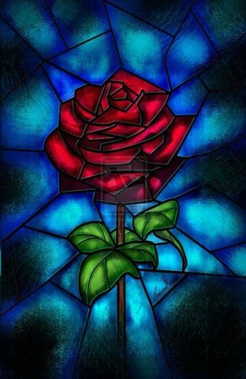 Stain glass window of the rose From Beauty and the Beast