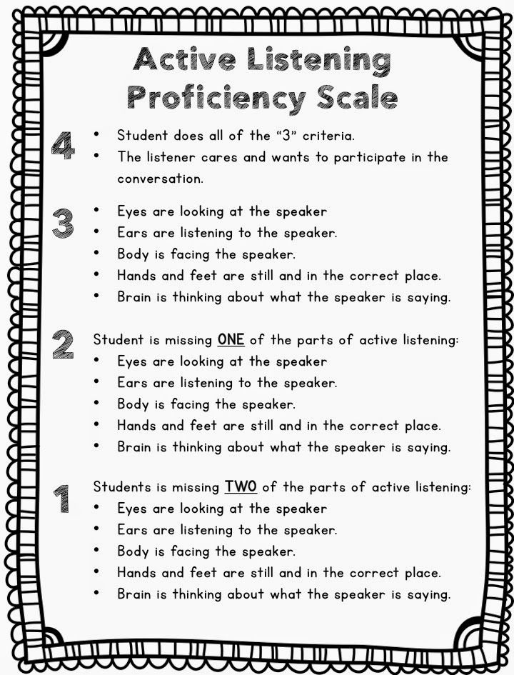 A new twist on an old back to school idea- a proficiency scale for active listening {FREEBIE}