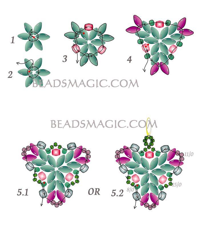 Free pattern for beaded earrings Muar U need: seed beads 8/0 seed beads 11/0 seed beads 15/0, Faceted beads 4 mm, super duo beads