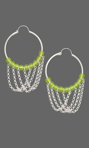 Earrings with Green Matsuno® Seed Beads and Sterling Silver Chain - Fire Mountain Gems and Beads