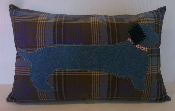 Dachshund cushion cover by handmadebysarahjane on Etsy