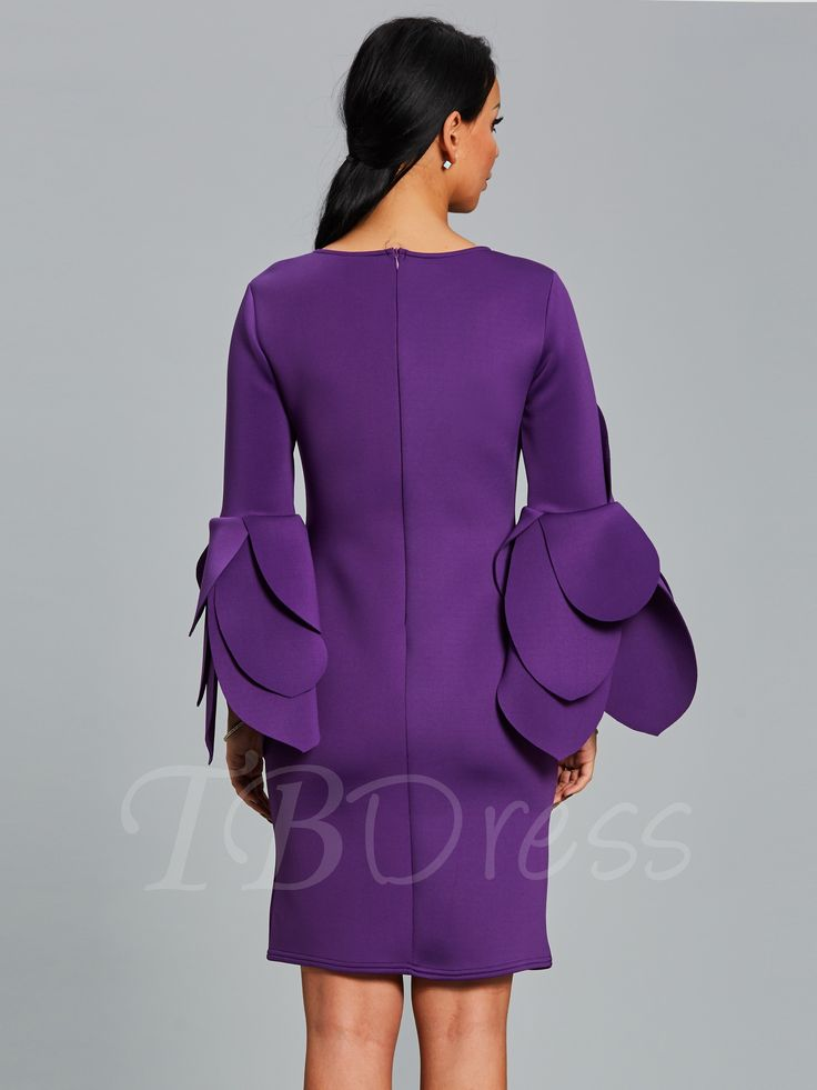 Tbdress.com offers high quality Plain Bell Sleeve Women's Bodycon Dress Bodycon Dresses unit price of $ 23.99.