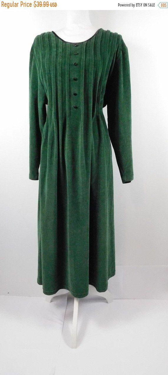 76f49a4a8872 30% OFF TURKEY SALE Vintage Fads Dark Green Black Velvet Henley Button Down  Long Sleeve Minimal Tie Back Babydoll Maxi Dress Xl Plus Size by  WearingMeOutVtg ...