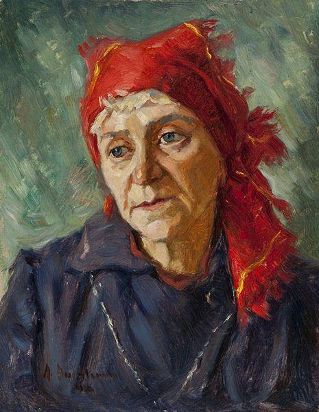 Alexej Assaulenko: Alte Frau mit rotem Kopftuch, 1946