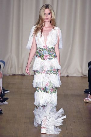 Georgina Chapman and Keren Craig paraded one of their frothiest collections to date in a lavish room at Banqueting House in Whitehall Palace.