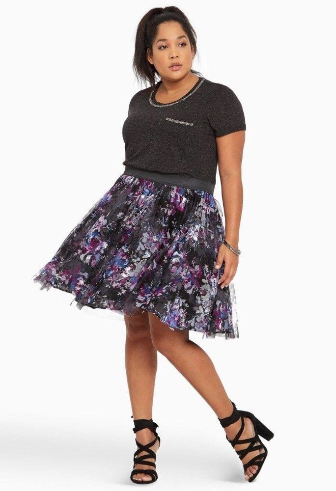 748a1386b91add Torrid Womens Mini Skirt Tulle Floral Print Size 4 black Blue Purple White  90 #Torrid #FlareSkirt #Occasion