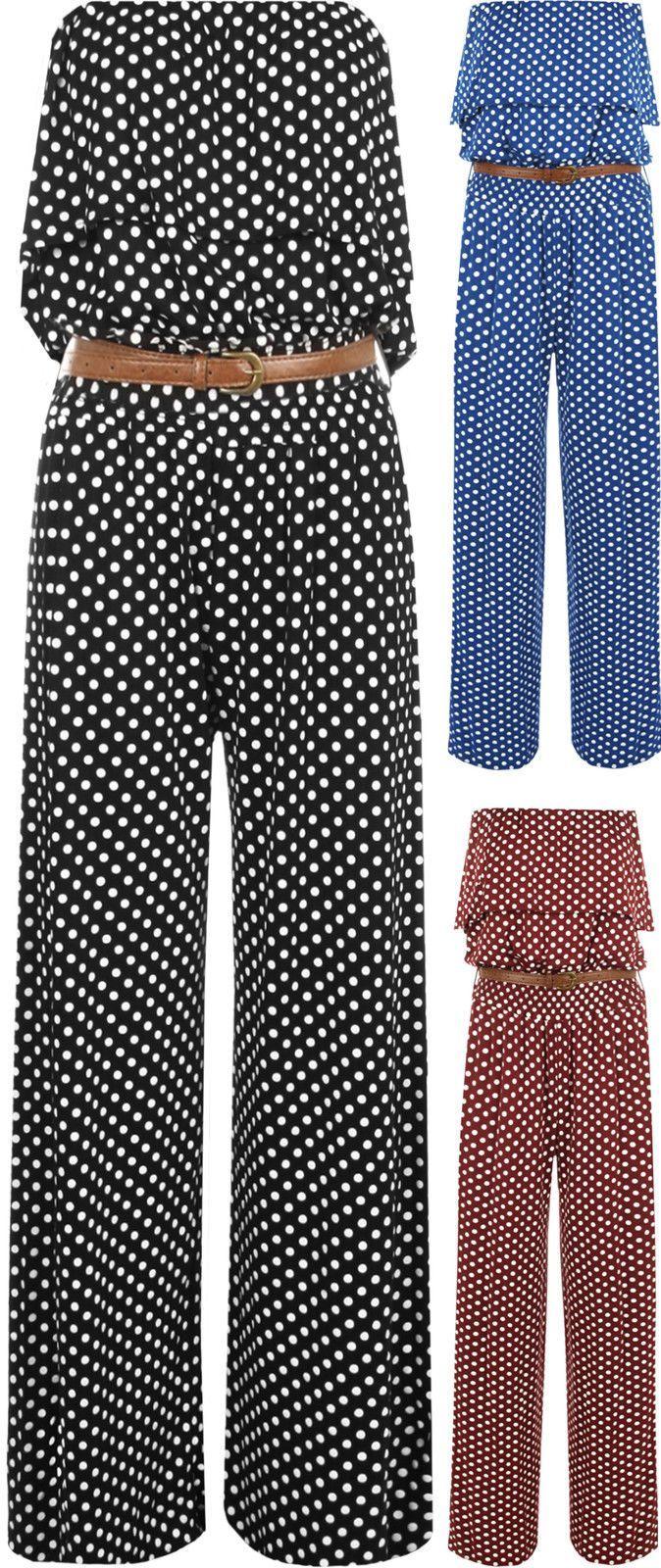 Womens Polka Dot Spot Print Layered Boob Tube Sleeveless Pants Ladies Jumpsuit