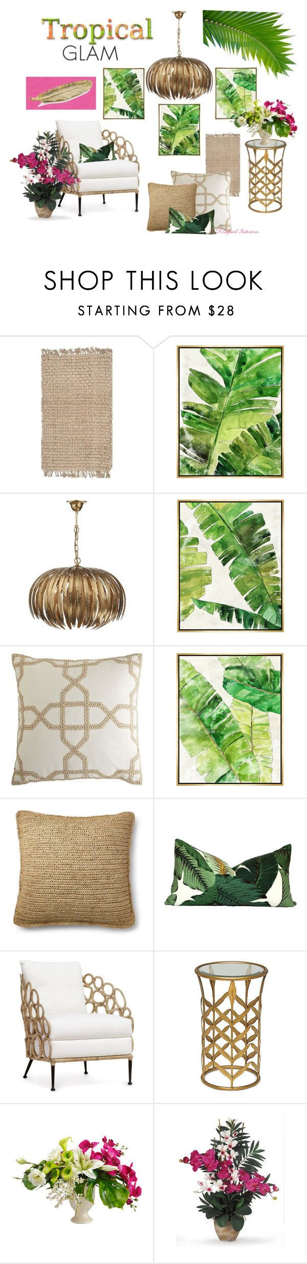 """Tropical Glam"" by angela-l-s ❤ liked on Polyvore featuring interior, interiors, interior design, home, home decor, interior decorating, Safavieh, Barclay Butera, Pier 1 Imports and Ralph Lauren"