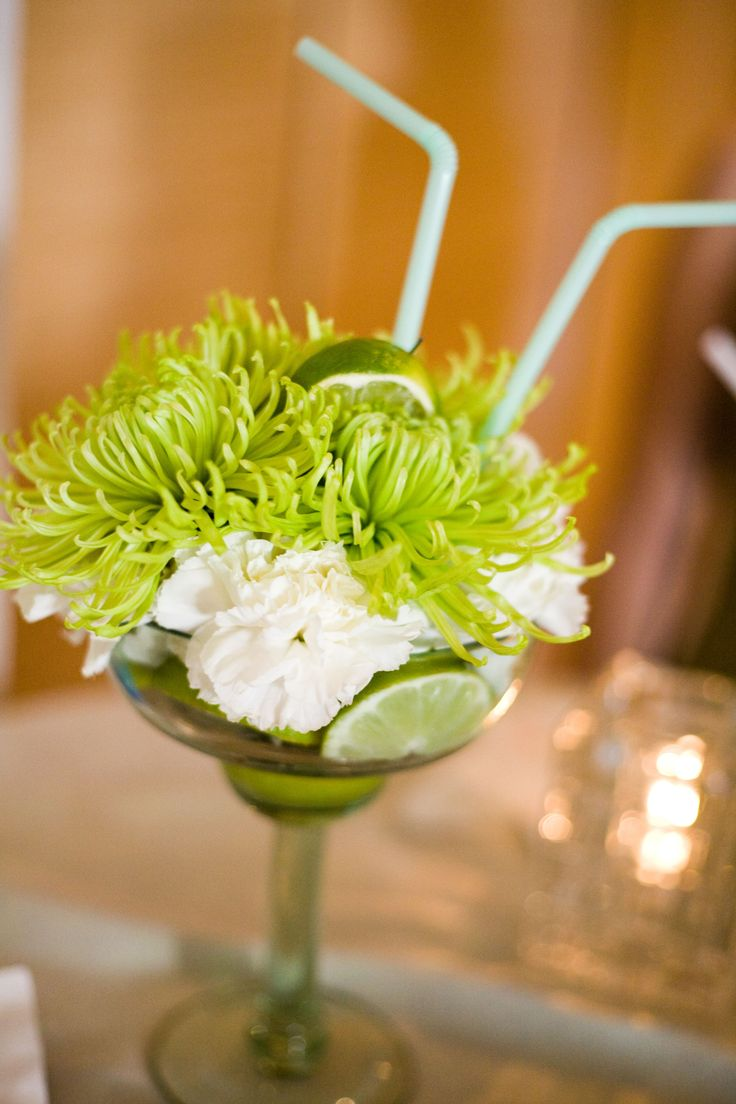 Margarita Flower Arrangements - made these as a centerpiece for a Margarita Party....very nice