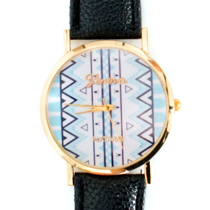 collections-by-h   Aztec watches  £16.00            Beautiful Aztec print ladies watch. This watch has a rich black strap which compliments the pastel blue print and gorgeous gold face surround. Worn alone or with gorgeous gold bangles this watch will undoubtedly set off any outfit.