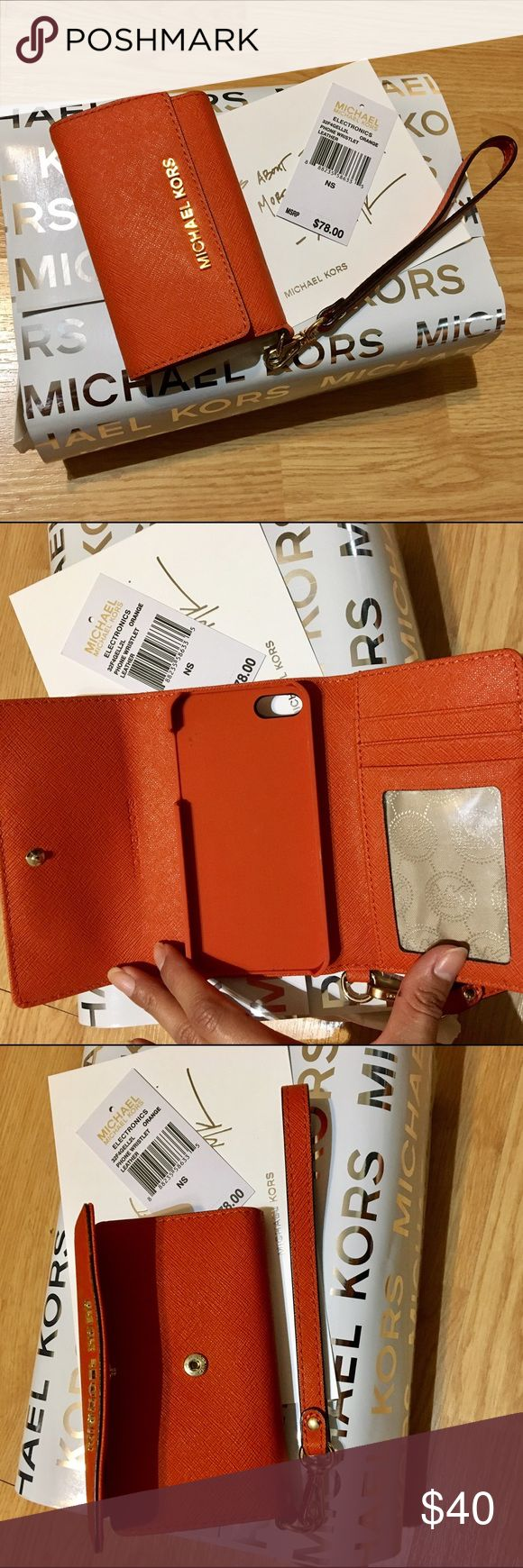 Michael Kors phone wristlet for iPhone 5 Brand new in original packaging,Saffiano orange leather phone wristlet for iPhone 5, has 3 card slots, 1 of which is an ID window, wristlet part is detachable MICHAEL Michael Kors Accessories Phone Cases