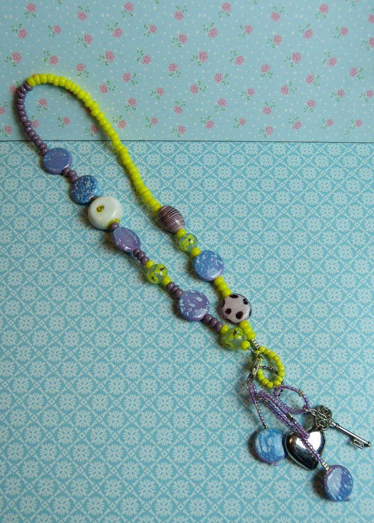 Ketting Keramiek, Lampwork & dikke rocaille kralen - Mauve paars, blauw & Geel