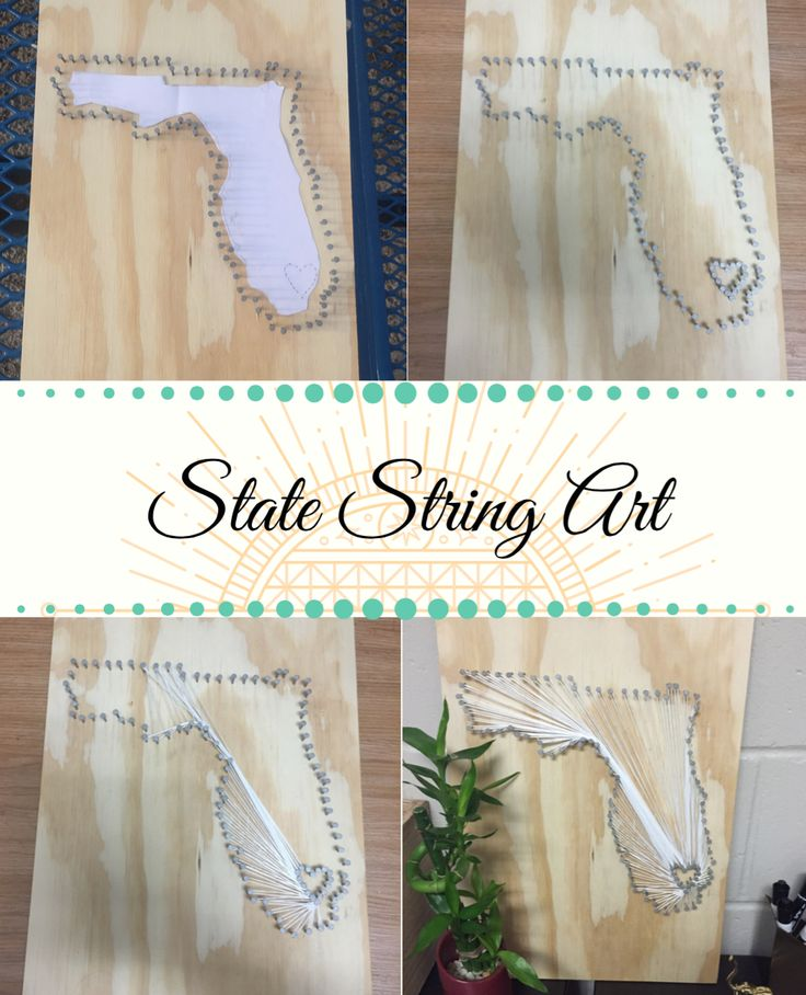 String art on Pinterest frequently results in Pinterest fails. The creator of this original pin gave vague instructions and assumed users have also made many DIYs. This is a common pattern with string art, and a lack of direction has caused many fails.  Example of a state fail: https://i.pinimg.com/736x/98/61/f1/9861f108d081062fa149f1215ed716ec.jpg  Example of a fail: http://pinterestfail.com/wp-content/uploads/2015/12/Pinterst-Fail-String-Art-Snowman-storyboard-600x390.jpg