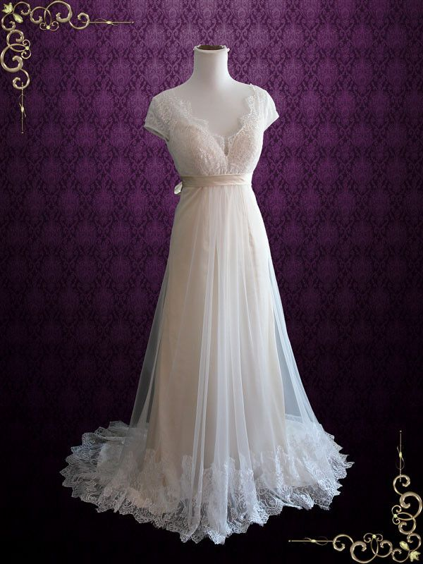 Champagne Whimsical Empire Lace Wedding Dress with Cap Sleeves and Open Back   Charissa