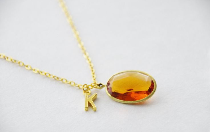 Personalized Amber Necklace * Large Amber Monogram Necklace * Vintage Rhinestone Initial Pendant Necklace * Bridesmaid Letter Necklace Gift by SmittenKittenKendall on Etsy