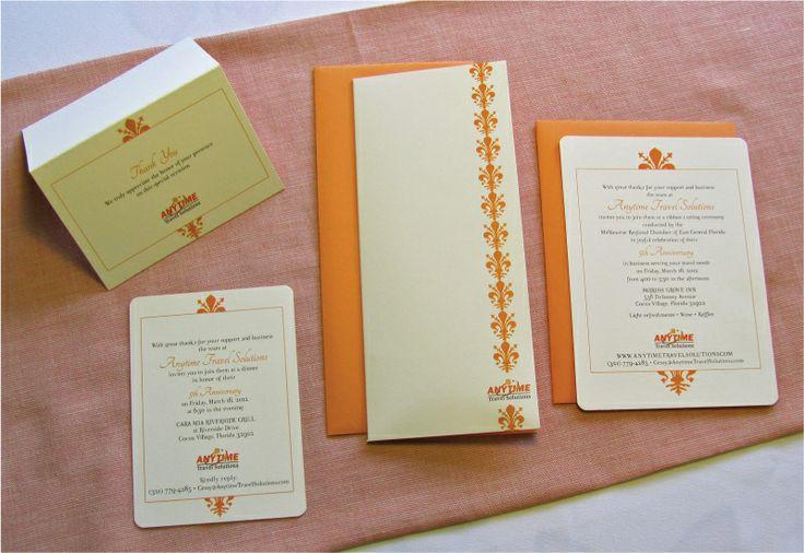 Orange and cream white custom-designed corporate anniversary thank you card and invitation