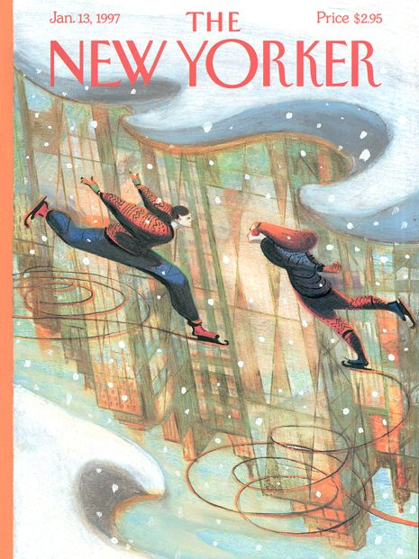 The New Yorker Cover  1997_01_13_Mattotti_Ice_Skating
