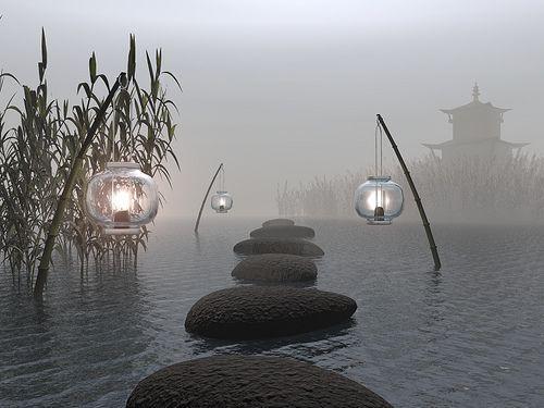 Zen Garden// the lanterns are great. love to have these in my zen garden.