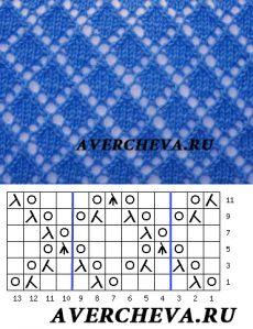 Узор 839 «Ромбы» | каталог вязаных спицами узоров