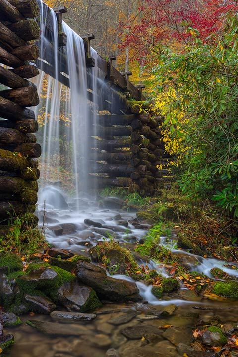 The Mingus Mill, Blue Ridge Mountains, North Carolina. Image credit unknown #Waterfall #North_Carolina