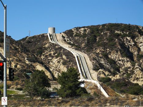 """The """"waterfall"""" at Balboa and the Old Road in the north end of the San Fernando Valley."""