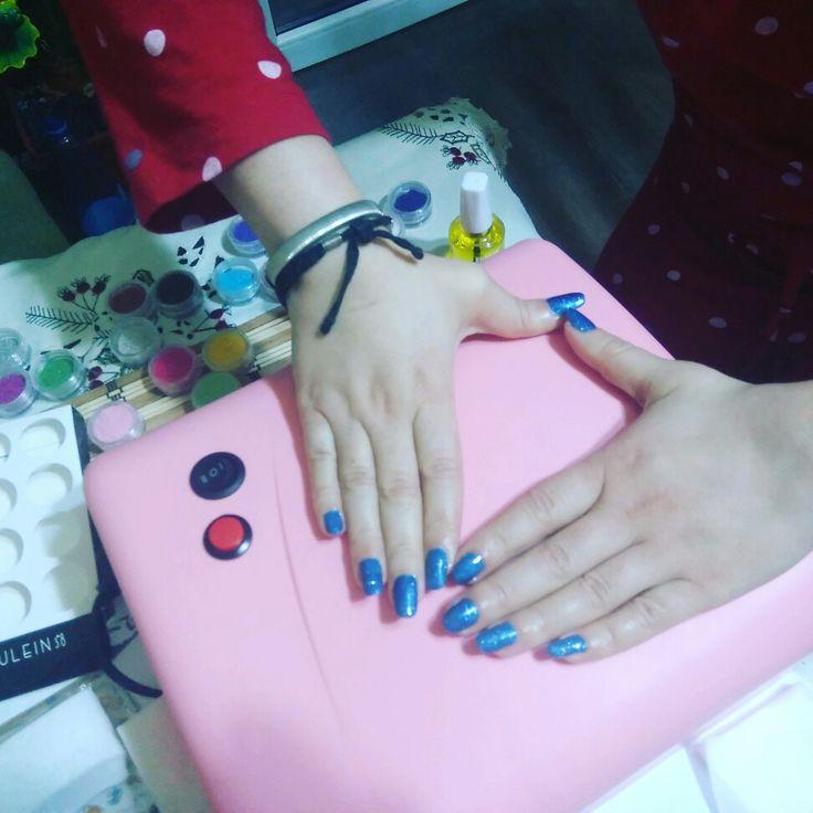 ###glitterblue## nails