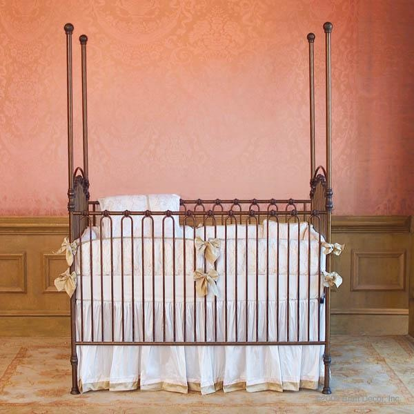 The crib features a stationary gate. The Venetian cast iron crib is elegant versatile : iron canopy crib - memphite.com