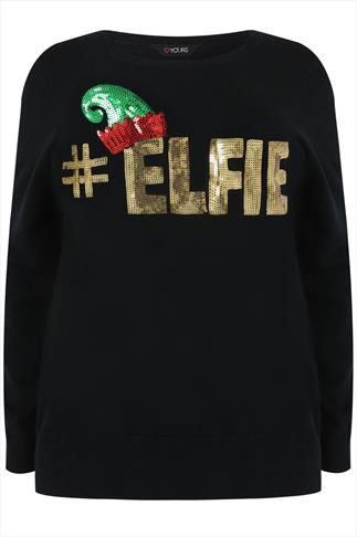 http://www.newtrendsclothing.com/category/xmas-sweater/ Black & Gold Sequin '#ELFIE' Christmas Jumper