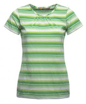 Naisten trikoopaita, vihreä moniväriraita