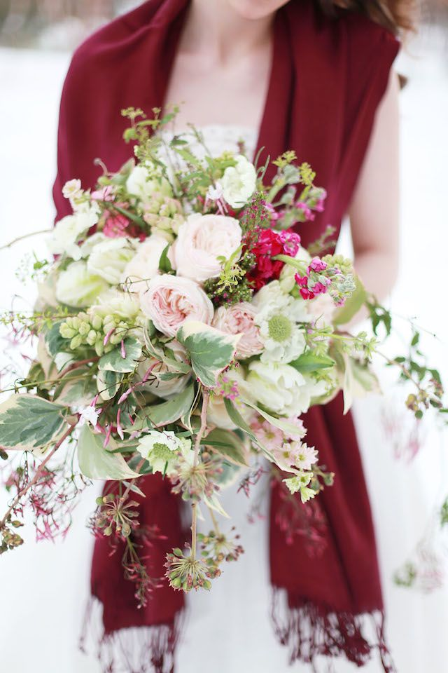 Winter bridal bouquet with peonies | Esther Gallarday Photography | see more on: http://burnettsboards.com/2014/04/dream-fairytale-bridal-inspiration/