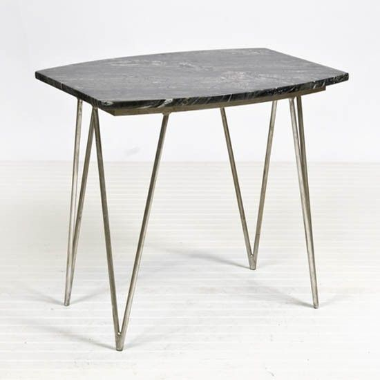 Worlds Away - Suzy Black Marble Silver Side Table - SUZY SB
