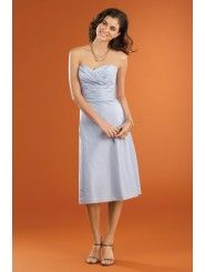 Taffeta Strapless Wraped Bodice Knee-Length Bridesmaid Dress