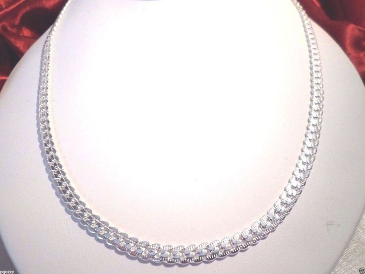 womens beautiful engraved 20 inch 7mm foxtail 925 sterling silver chain   #Unbranded #Chain