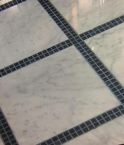 "Bathroom Tiles Mosaic Border: 12"" Marble Tiles W Mosaic Tile Borders"